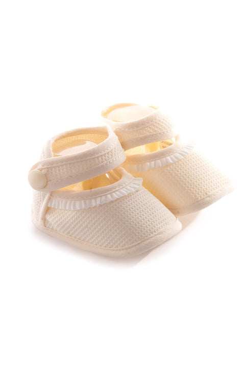 Pex Ivory Frill Textured Booties.