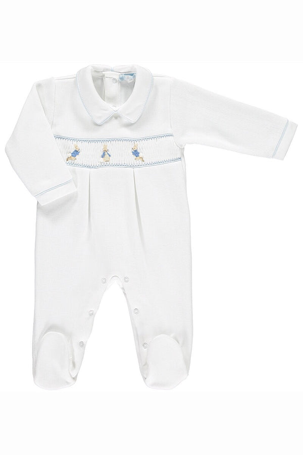 Peter Rabbit Smocked White And Blue Knit All In One