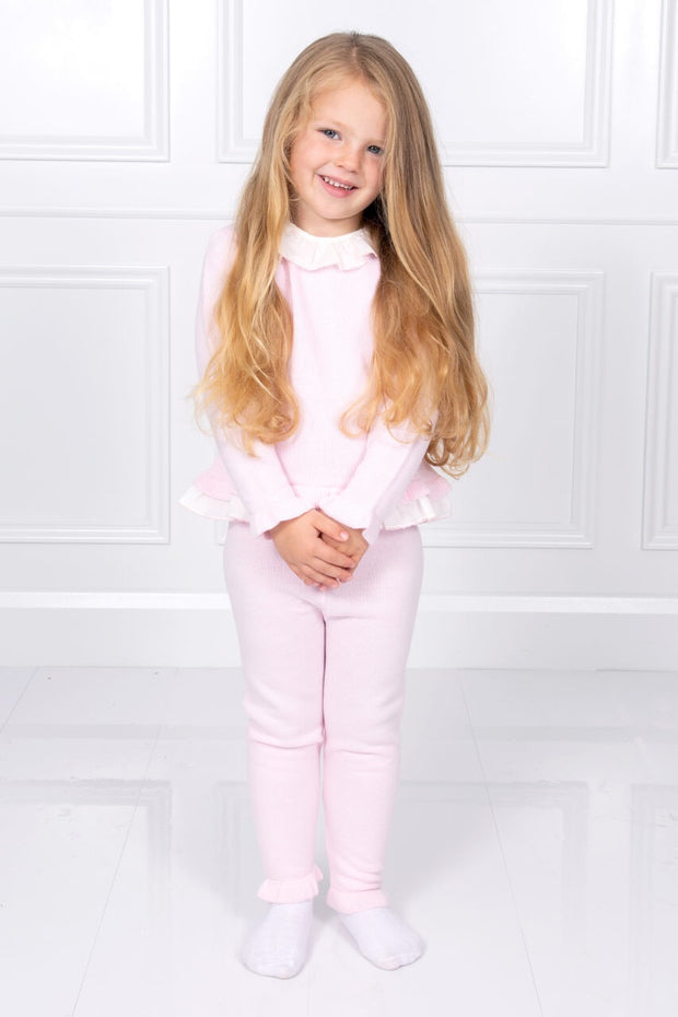 Pink Frill Knitted Tracksuit