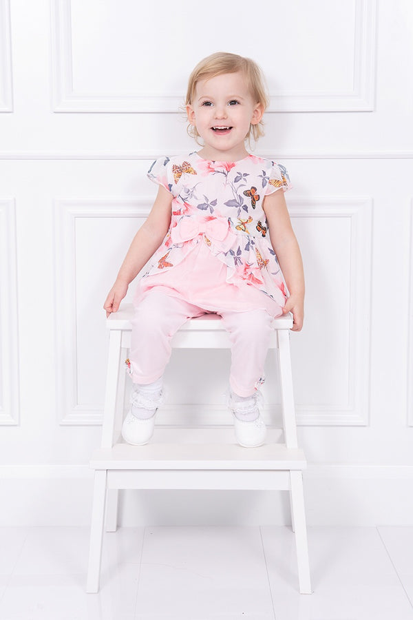 Mintini Butterfly Detail Bow Dress And Leggings