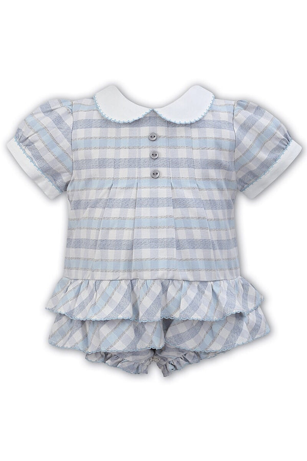 Sarah Louise Traditional Blue Check Frill Romper