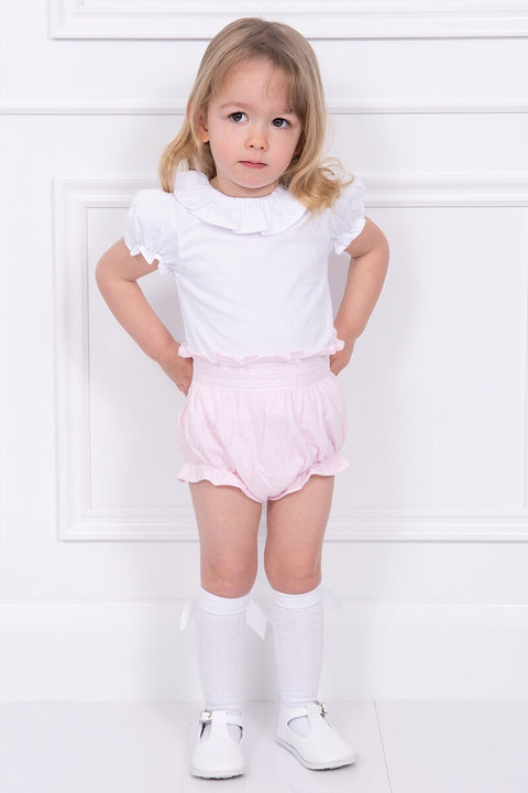 White Top With Pink Smocked Shorts