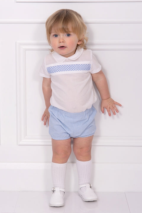 White Smocked Design Shirt With Blue Striped Shorts