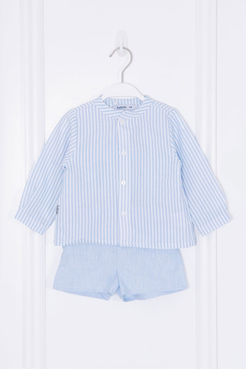 Candy Blue Striped Shirt And Shorts
