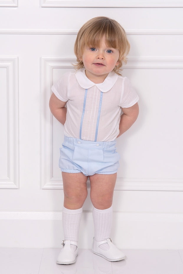 White Pleated Design Shirt With Detachable Blue Shorts