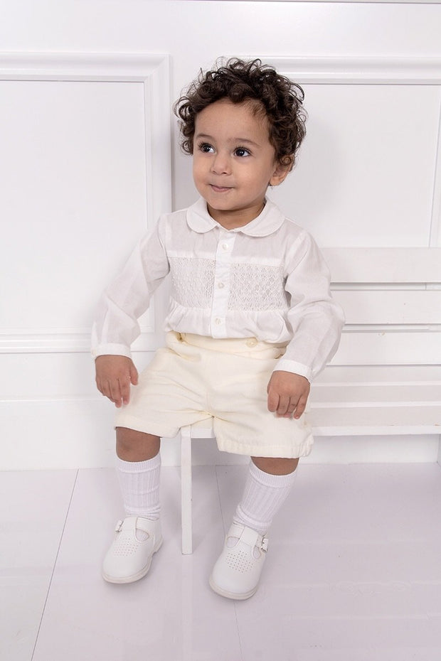 Ivory Smocked Two Piece Outfit - Jacob Matthews