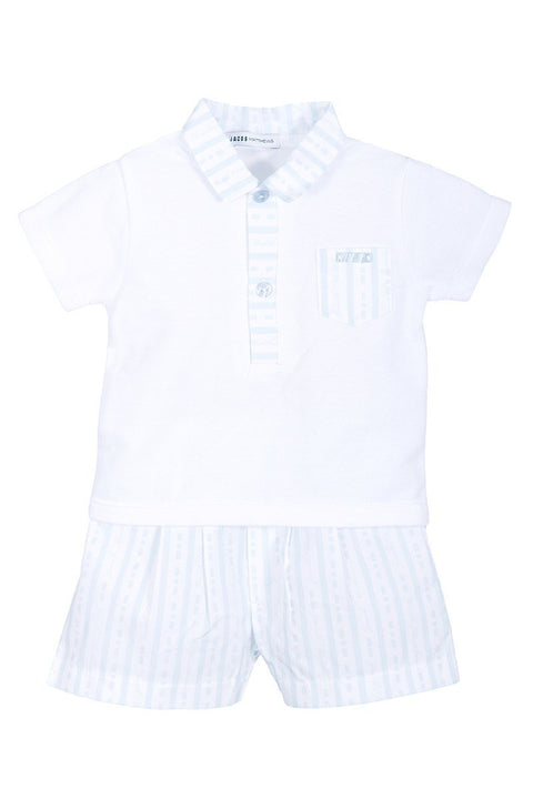 Jacob Matthews Blue Stripe Polo And Shorts - Jacob Matthews