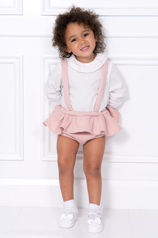 Ivory Star Top And Pink Frilled Braced Shorts