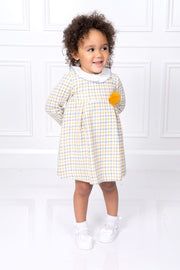 Yellow Tweed Pom Pom Dress