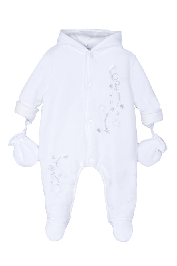 White Star Pramsuit With Detachable Mittens