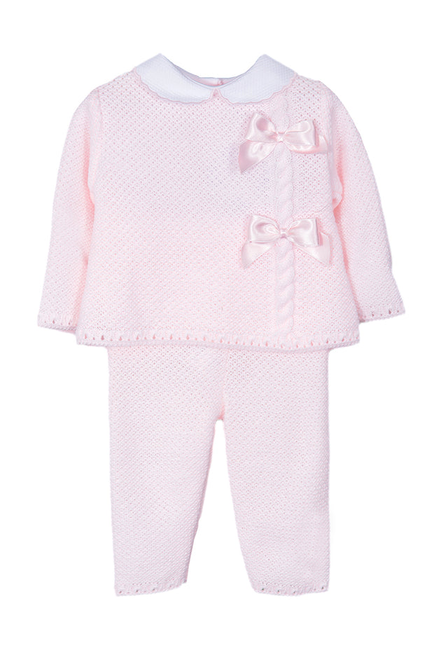 Pink Knitted Bow Tracksuit
