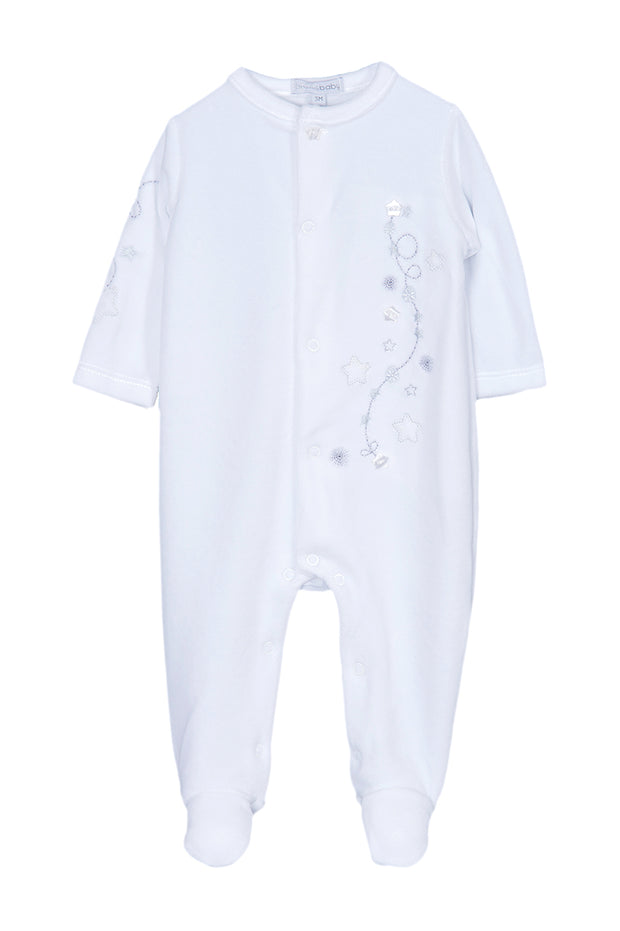 White Velour Star All In One With Hat
