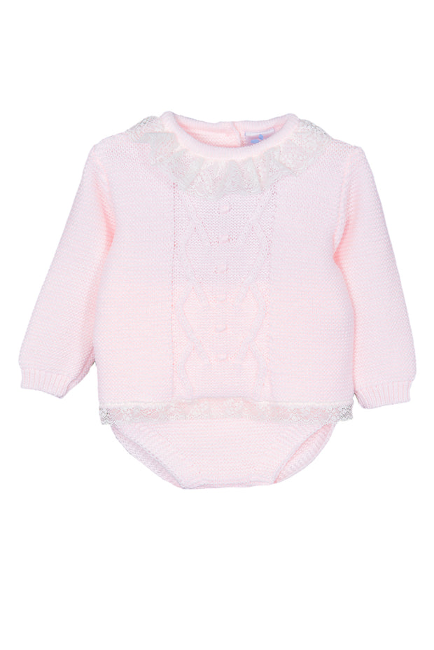 Pink Knitted Lace Trim Jumper And Shorts