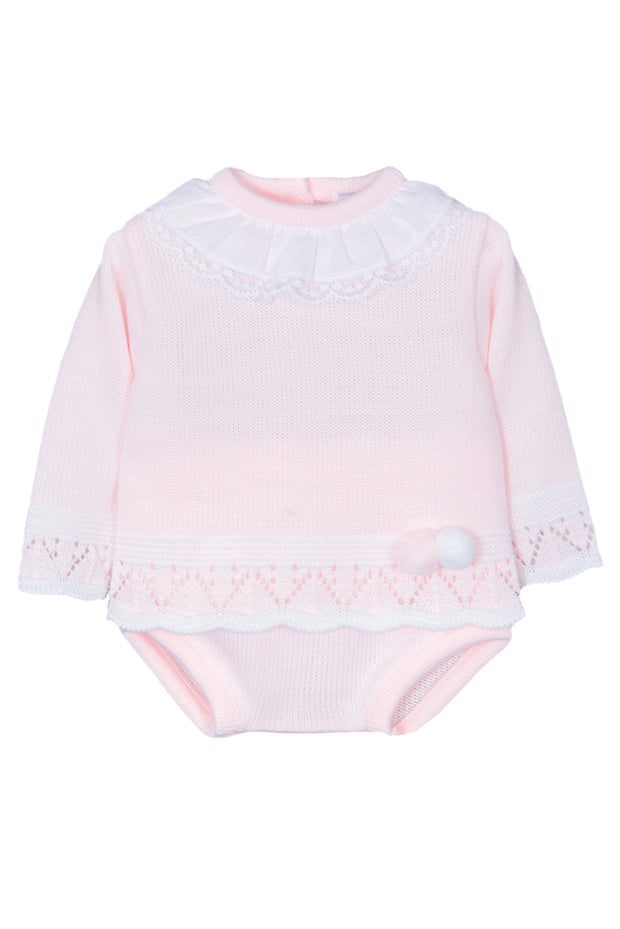 Pink Knitted Lace Collar Jumper And Shorts With Bonnet