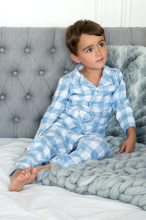 Blue And White Checked Pyjamas