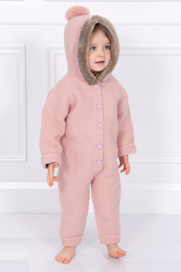 Rose Pink Knitted Pom Pom Fur Hooded Pramsuit
