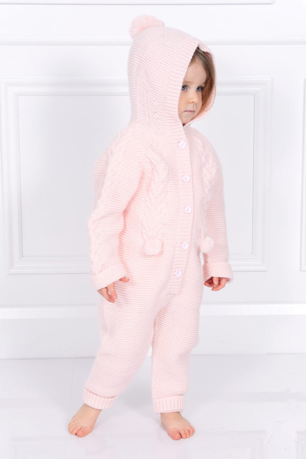 Pink Pom Pom Hooded Pramsuit
