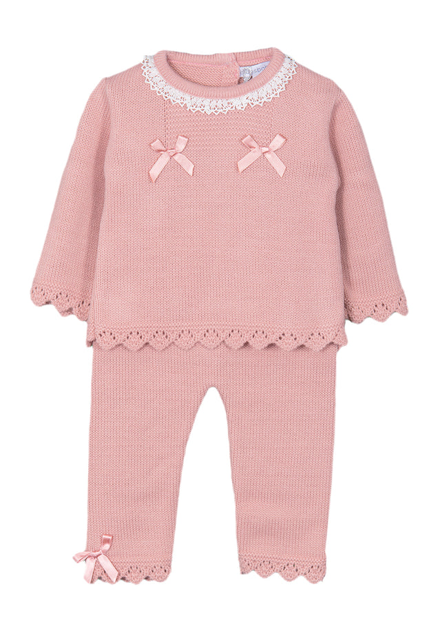 Rose Pink Double Bow Knitted Outfit