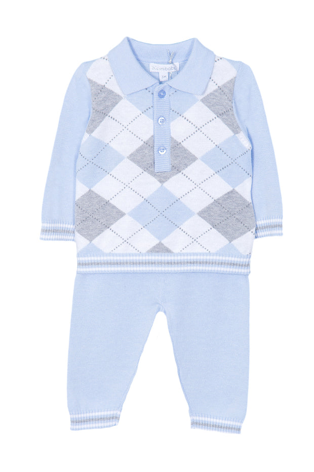Blue Knitted Jaquard Outfit