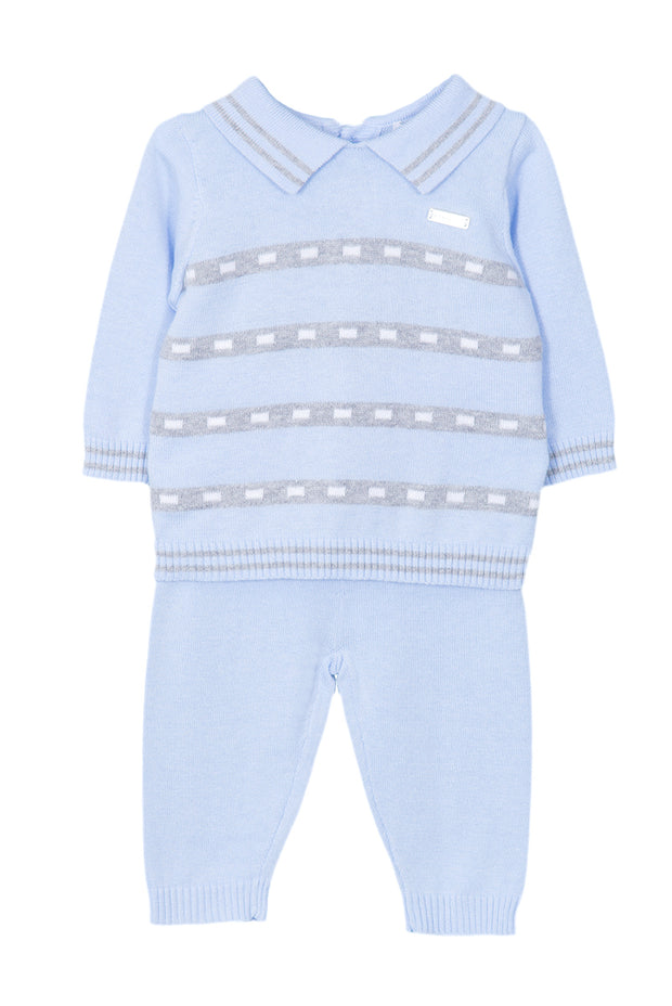 Blue Knitted Outfit With Grey Stripes