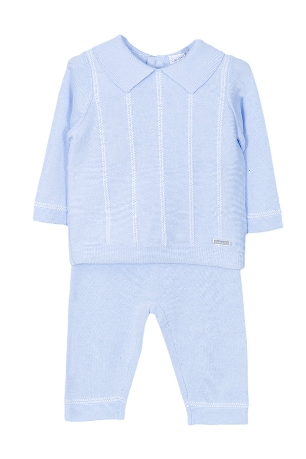 Blue Knitted White Stripe Outfit