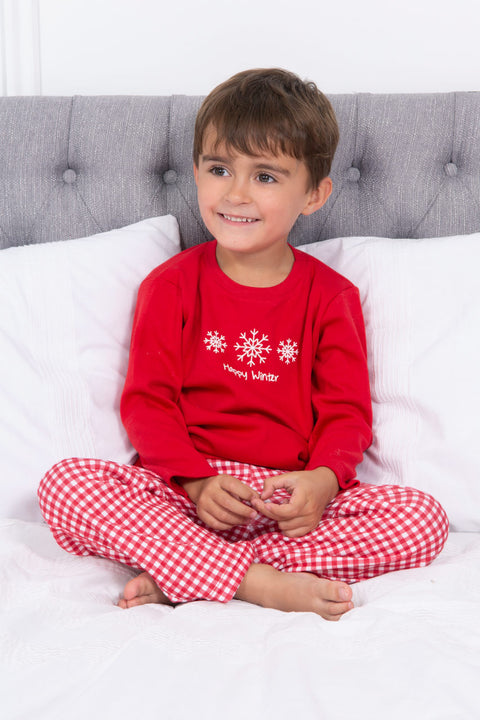 Red Cotton Checked Pyjamas