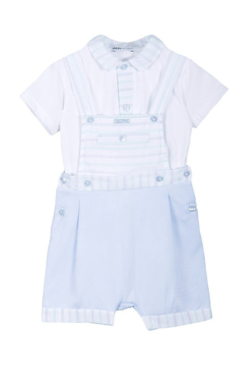 Mint Stripe Dungaree And Top - Jacob Matthews