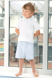 Mint Stripe Polo And Shorts - Jacob Matthews