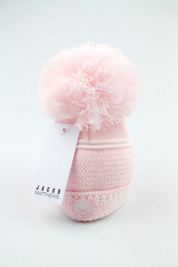 Pink Bear Hat - Large Pom Pom - Jacob Matthews