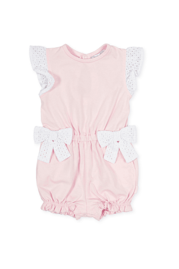 Pink Broidere Bow Romper - Jacob Matthews