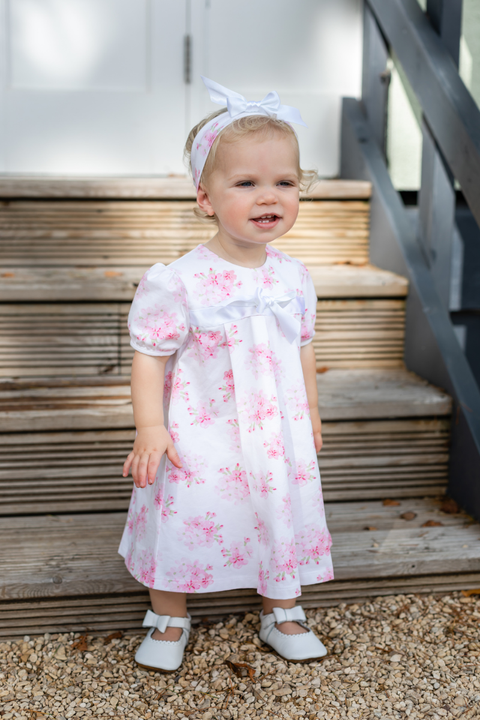 Pink Floral Bow Dress And Headband - Jacob Matthews
