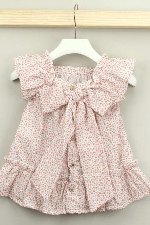 Pink Floral Large Bow Dress - Jacob Matthews
