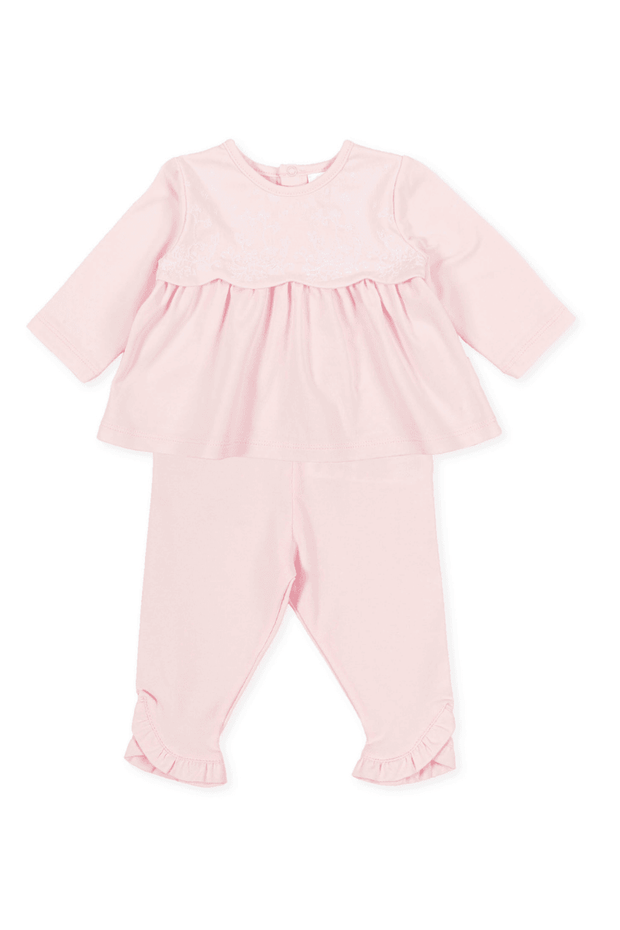 Pink Frill Embroidered Top And Leggings - Jacob Matthews