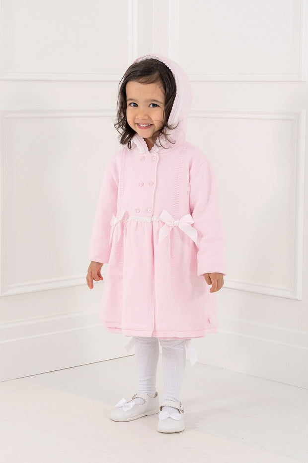 Pink Knitted Bow Coat - Jacob Matthews