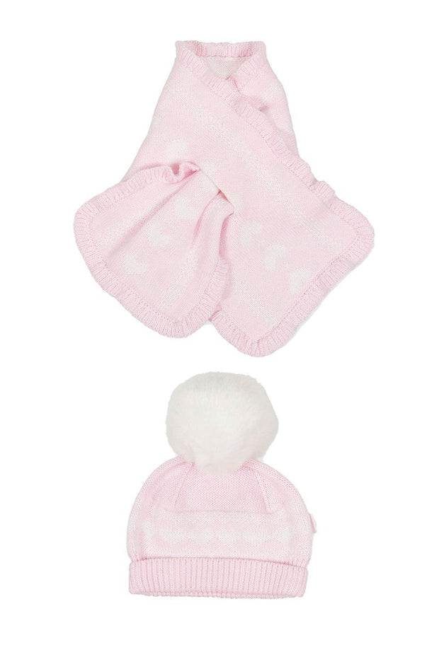 Pink Knitted Pom Pom Hat And Scarf - Jacob Matthews