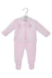 Pink Knitted Pom Pom Two Piece Outfit - Jacob Matthews