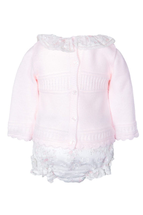 Pink Knitted Top With Floral Shorts And Bonnet - Jacob Matthews