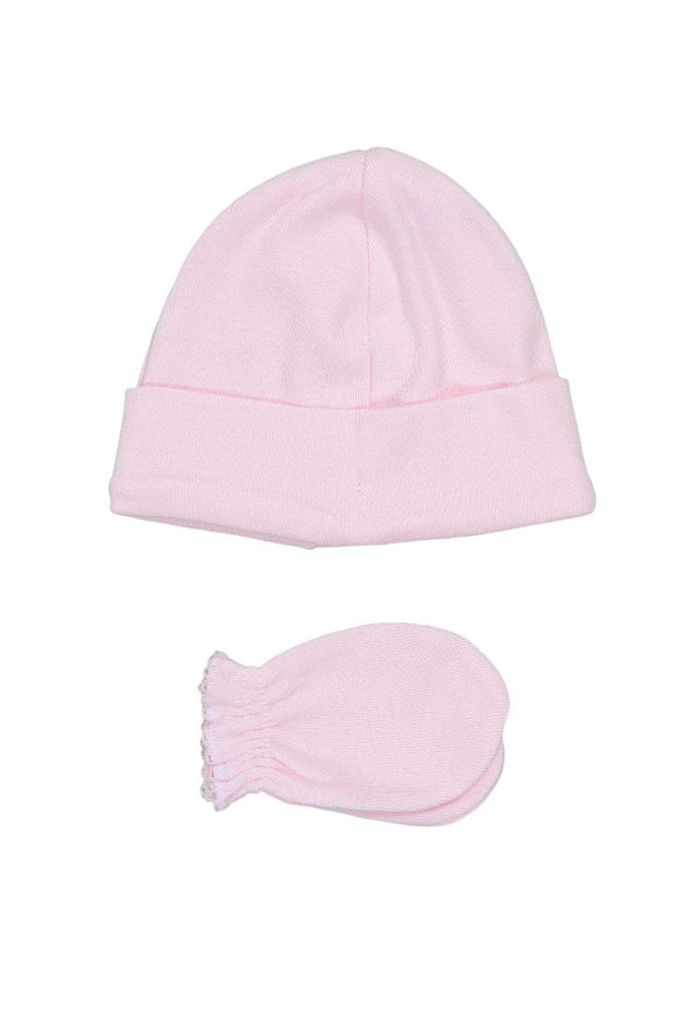 Pink Scalloped Trim Hat And Mittens - Jacob Matthews