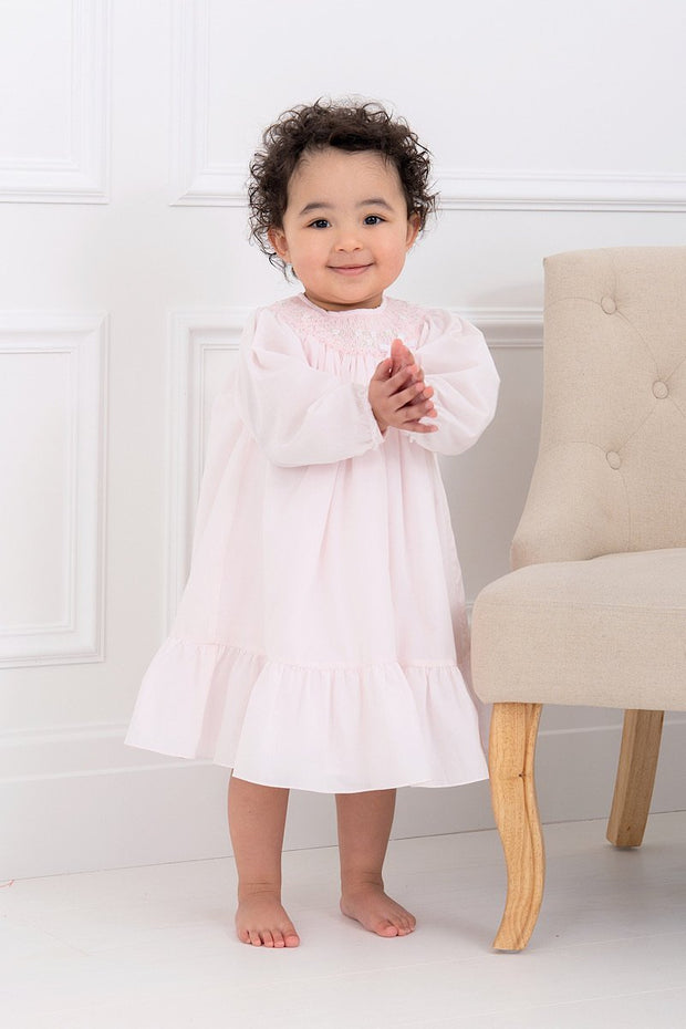 Pink Smocked Laced Trim dress - Jacob Matthews