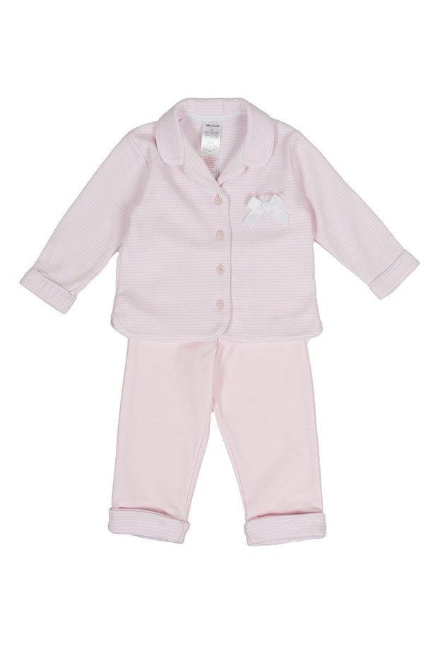 Pink Stripe Bow Pyjamas - Jacob Matthews