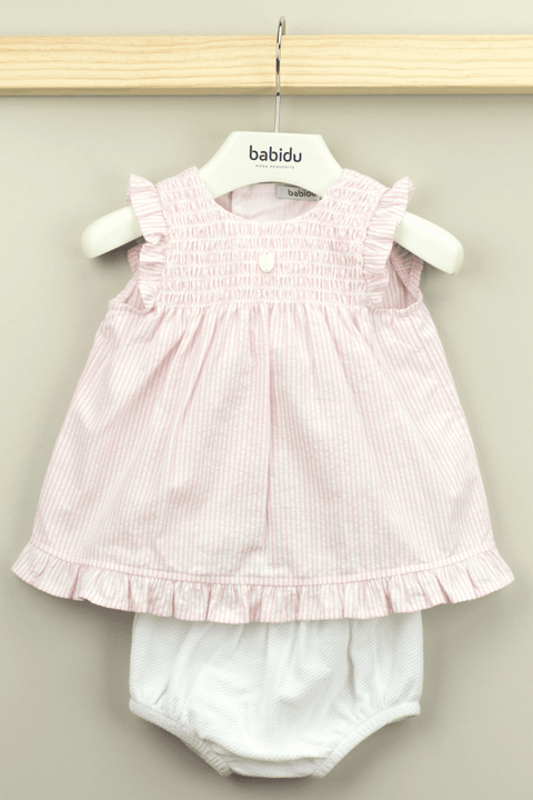 Pink Stripe Smocked Dress And Bloomers Outfit - Jacob Matthews
