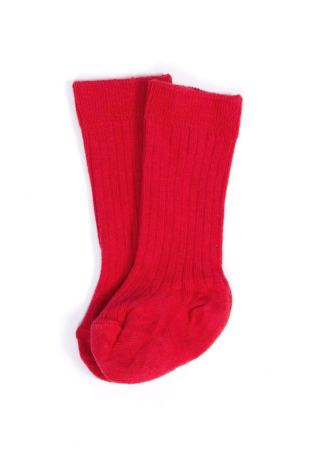 Red Ribbed 3/4 Socks - Jacob Matthews