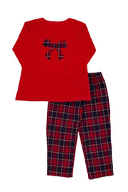 Red Tartan Bow Pyjamas - Jacob Matthews