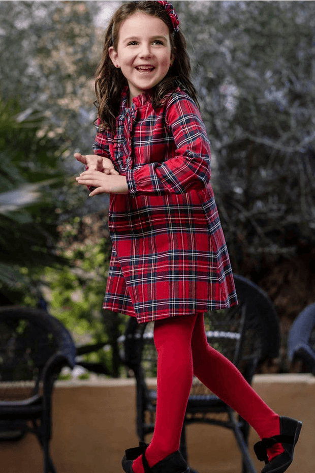 Red Tartan Dress And Tights - Jacob Matthews