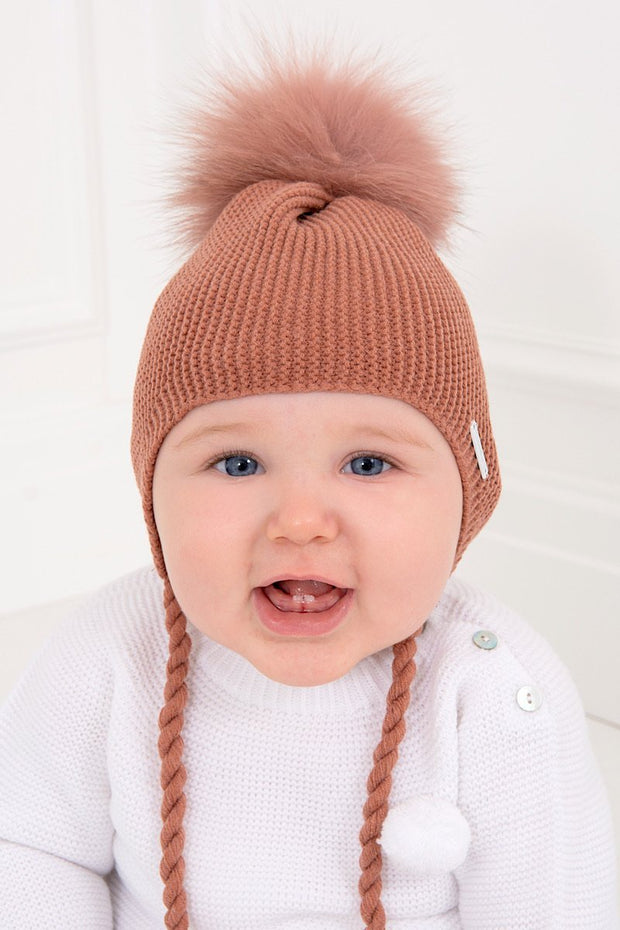 Rust Tie Pom Pom Hat - Jacob Matthews