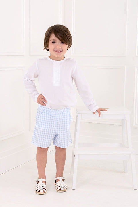 Shirt And Blue Gingham Shorts Outfit - Jacob Matthews