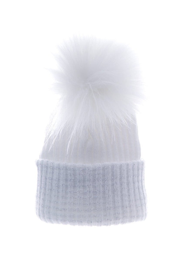 Soft Grey And Silver First Size Ribbed Hat - Jacob Matthews