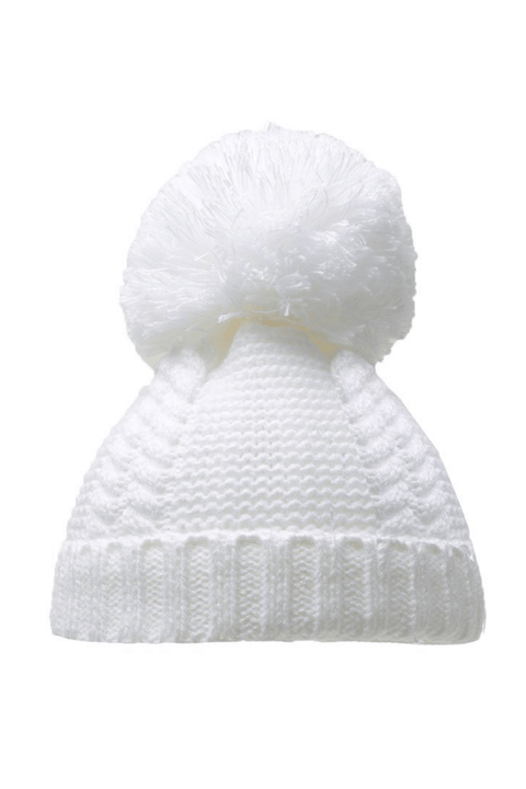 White Cable Pom Pom Hat - Jacob Matthews