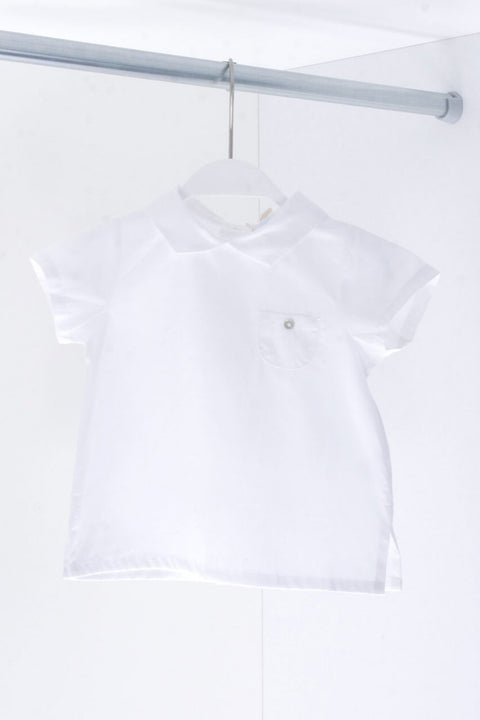 White Cotton Pocket Shirt - Jacob Matthews