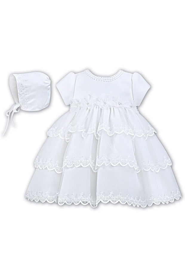 White Flower Christening Dress And Bonnet - Jacob Matthews